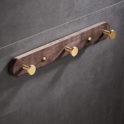 Abloh Luxury 3 Hook Robe/Towel Rack Wooden Walnut & Gold