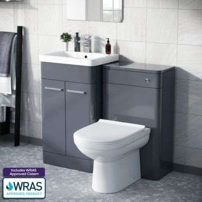 Afern 500mm Vanity Unit, WC Unit And Curved BTW Toilet Steel Grey