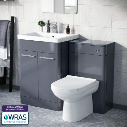 Afern 600mm Freestanding Basin Vanity Unit, WC Unit & BTW Toilet Steel Grey