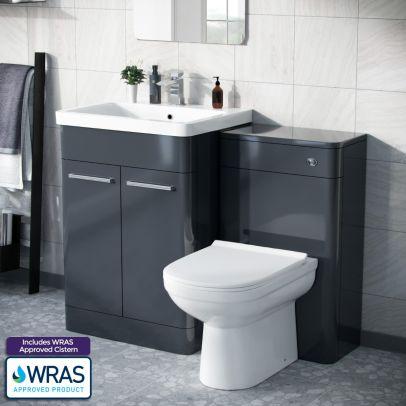 Afern 600mm Freestanding Basin Vanity Unit, WC Unit & BTW Toilet Anthracite