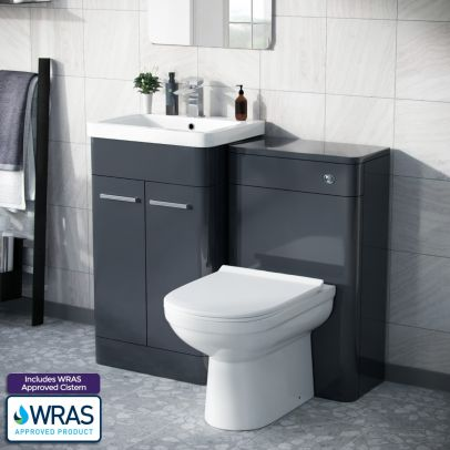 Afern 500mm Vanity Unit, WC Unit And Curved BTW Toilet Anthracite