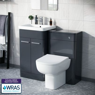 Afern 500mm Vanity Unit, WC Unit And Squared BTW Toilet Anthracite