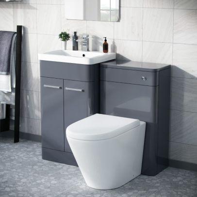 Afern 500mm Vanity Unit, WC Unit And Round BTW Toilet Anthracite