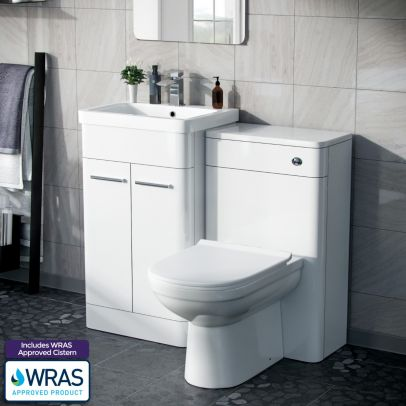 Afern 500mm Vanity Unit, WC Unit And Curved BTW Toilet White Gloss