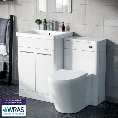 Afern 600mm Freestanding Basin Vanity Unit, WC Unit & BTW Space Saving Round Toilet White
