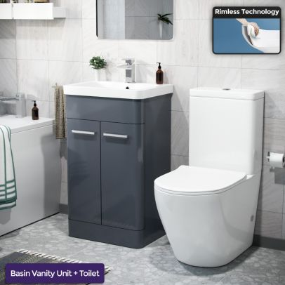 Afern 500mm Freestanding Vanity Unit and Close Coupled Rimless Toilet Anthracite