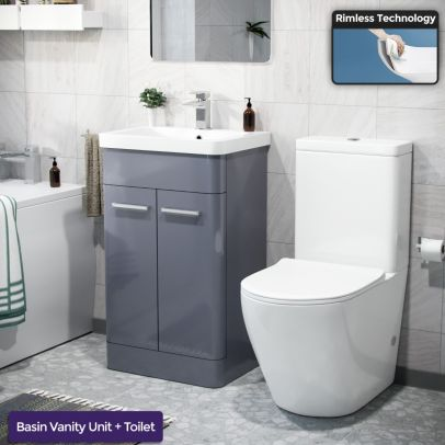 Afern 500mm Freestanding Vanity Unit and Close Coupled Rimless Toilet Steel Grey