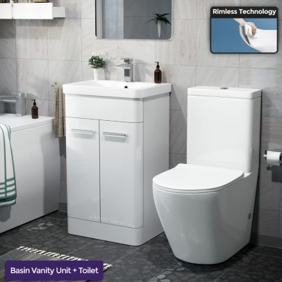 Afern 500mm Freestanding Vanity Unit and Close Coupled Rimless Toilet White