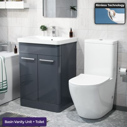 Afern 600mm Freestanding Vanity Unit, Curved Rimless Close Coupled Toilet Anthracite