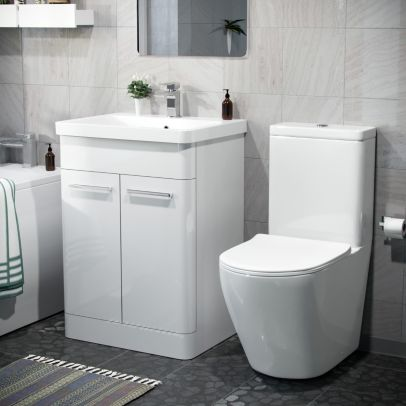 Afern 600mm Freestanding Vanity Unit And Curved Close Coupled Toilet White
