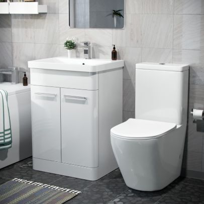 Afern 600mm Freestanding Vanity Unit, Curved Rimless Close Coupled Toilet White
