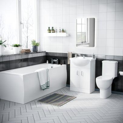 Amber 3 Piece Bathroom Suite includes Rimless WC Toilet, Vanity Unit and 1700 Bathtub