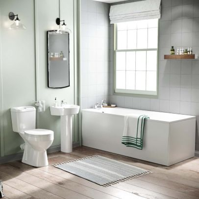 Omaha Close Coupled Toilet, Full Pedestal Basin and Round Bath Tub Suite White
