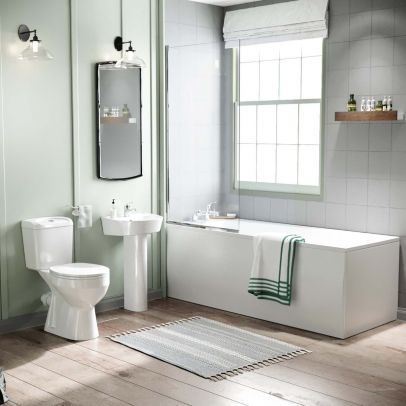 Omaha Close Coupled Toilet, Full Pedestal Basin, Round Bath Tub and Screen Suite White
