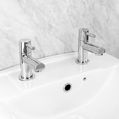 Fiona Traditional Twin Hot and Cold Basin Sink Taps