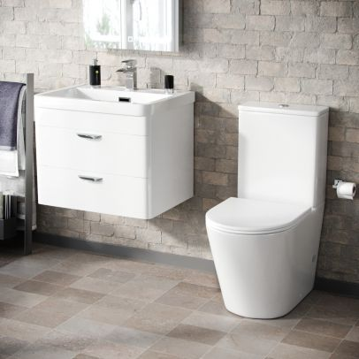 Wyke 600mm Wall Hung 2 Drawer Vanity And Curved Close Coupled Toilet White
