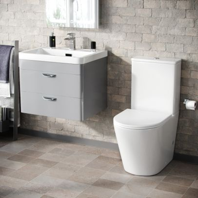 Wyke 600mm Wall Hung 2 Drawer Vanity And Curved Close Coupled Toilet Light Grey