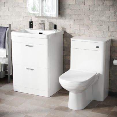 Wyke 600mm Floorstanding 2 Drawer Vanity, WC Unit & Modern BTW Toilet White