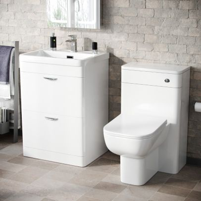 Wyke 600mm Floor Standing 2 Drawer Vanity, WC Unit & BTW Toilet White