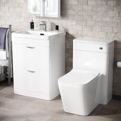 Wyke 600mm Floor Standing 2 Drawer Vanity Basin, WC Unit & BTW Rimless Toilet White