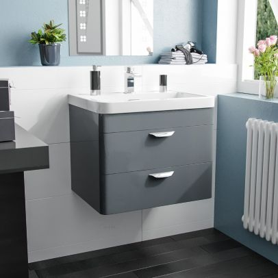 Quickely 600mm 2 Drawer Dark Grey Wall Hung Vanity Cabinet With Basin Sink