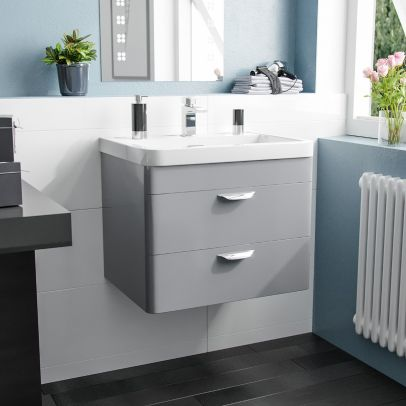 Quickely 600mm 2 Drawer Light Grey Wall Hung Vanity Cabinet With Basin Sink