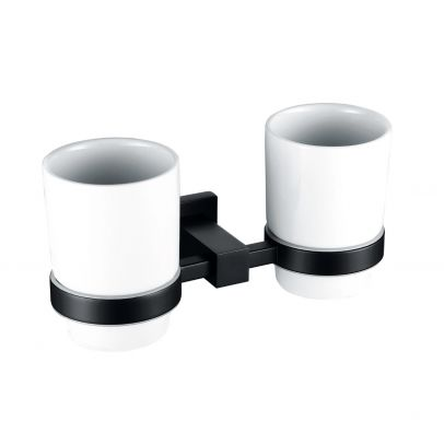 Matte Black Square Double Tumbler Cup and Holder Set