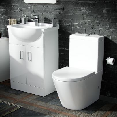 Dyon 550mm Floorstanding Vanity Basin Unit & Close Coupled WC Toilet White