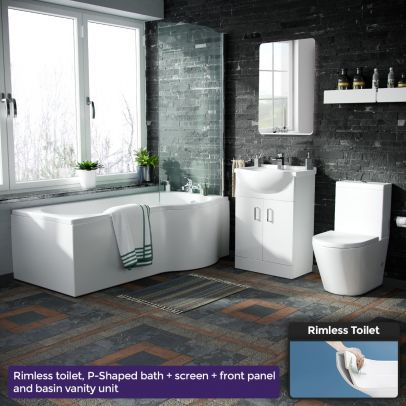 Warton P-Shaped Right Handed Bath, 550mm Vanity Basin Unit, WC Unit and Toilet Suite White
