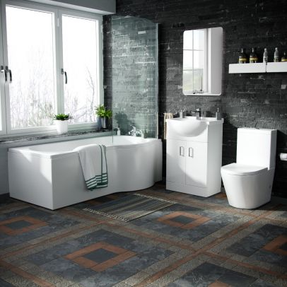 Warton 550mm Vanity Unit, Close Coupled Toilet and Right Handed P-Shaped Bath Suite White
