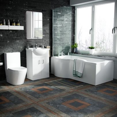 Warton 550mm Vanity Unit, Close Coupled Toilet and Left Handed P-Shaped Bath Suite White