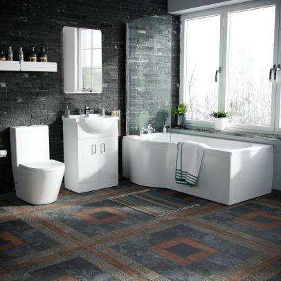 Warton P-Shaped Left Handed Bath, 550mm Vanity Basin Unit, WC Unit and Toilet Suite White