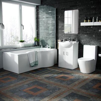 Bruin White P Shape Bath Suite WC Close Coupled Toilet Basin Sink Vanity Unit RH