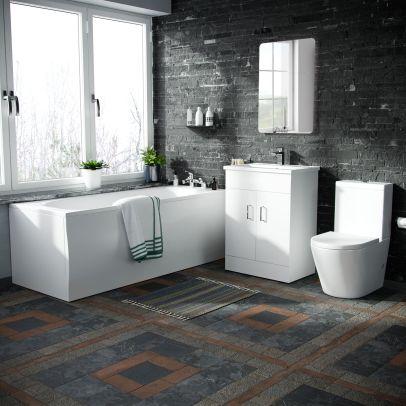 Basin Vanity Unit & Close Coupled WC Toilet with Straight Edge Bath Bathroom Suite