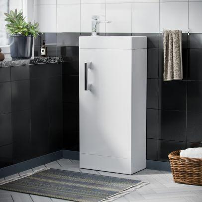 Felix 400 mm Cloakroom White Basin Vanity Unit