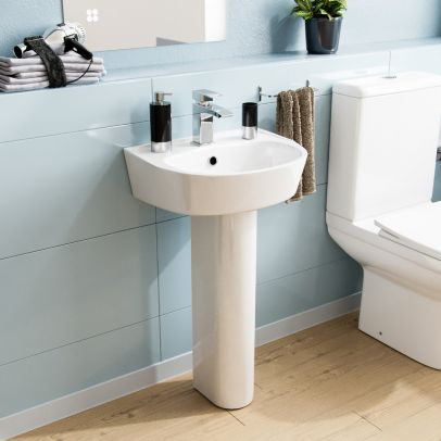 400mm ECO Basin With Pedestal White
