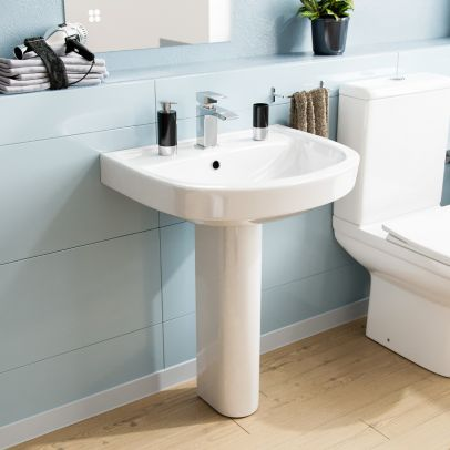 550mm ECO Basin With Pedestal White