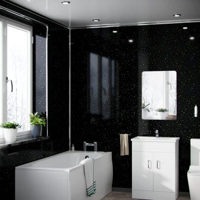 Black Galaxy 1.2 x 2.4 m Bathroom PVC Cladding Shower Wet Wall Panels