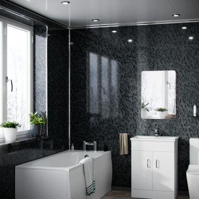 Falore Panel PVC Black Perlescent Cladding Wall 1000mm X 2400mm X 10mm (Pack Of 1)