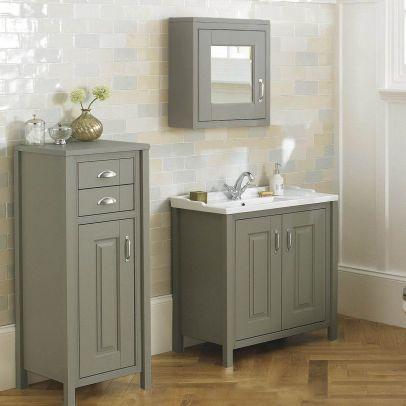 Chiltern 800mm Vanity Basin Unit, Tall Boy Cabinet & Mirror Cabinet Furniture Suite Stone Grey