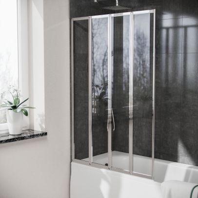 Parga 4 Folding Glass Panel Door Bath Shower Screen