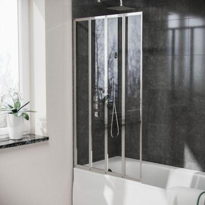 Parga 800 mm Bath Shower Screen with 4 Reversible Glass Folding Door