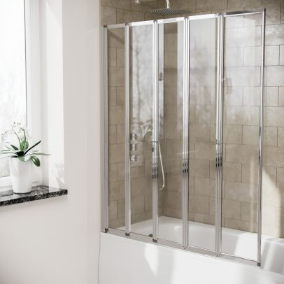 Parga 5 Fold Folding Bath Shower Glass Door Screen Panel