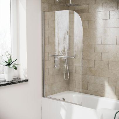 Denver Frameless Bath Shower Screen with Glass Swing Door and Towel Bar