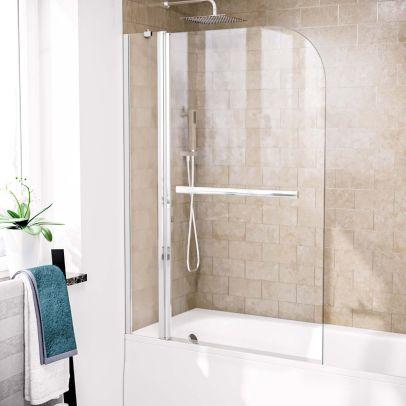 Athens 1000mm Curved Glass Bath Screen Swing Door & Towel Bar Chrome