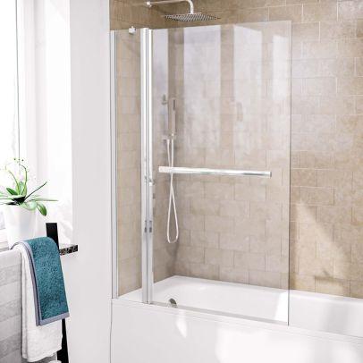Athens 1000mm Square Glass Bath Screen Swing Door & Towel Bar Chrome