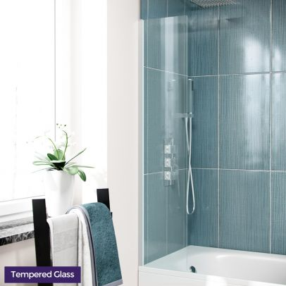 Glass Over Bath Shower Screen 250mm Fixed Bath Screen Reversible