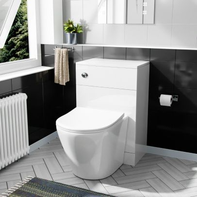 Eddy Modern Cloakroom BTW WC Unit, Curved Toilet and Soft Close Seat