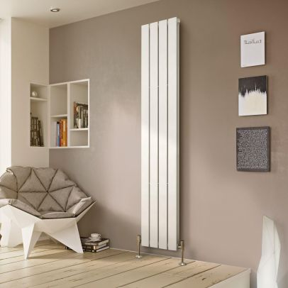 Atlanta 1800 X 300mm Double Column Flat Panel White Vertical Designer Radiator