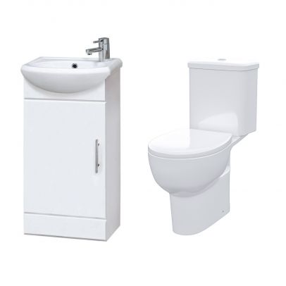 Dyon 410  mm Cloakroom Basin Vanity Cabinet with WC Toilet Set